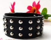 Black Leather Bracelet Wristband Mens Womens ff8