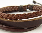 Brown Leather Bracelet Wristband Mens Womens ff36