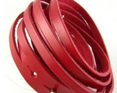 Red Leather Bracelet Wristband Mens Womens ff47