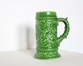 Vintage grass green ceramic cup