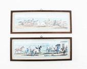 set of 2 vintage prints equestrian equine horse framed art home decor