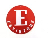 Vintage industrial metal sign letter E