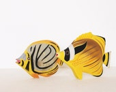 Vintage wooden yellow tropical fishes