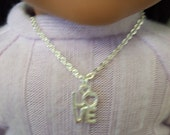 "American Girl 18 "" inch Doll and Girl Silver LOVE Necklace Jewelry Accessories Bracelet Child"
