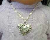 "American Girl 18 "" inch Doll and Girl Silver Love Etched Heart Necklace Jewelry Accessories Bracelet Child"