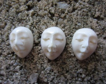 Three Piece  Hand Carved Oval  face, Small Cabochon ,embellishment, jewelry  Making Supplies S3328