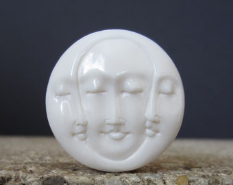 30mm Gorgeous Hand Carved Three Face Cabochon with closed Eye, Bone Component, Cabochon for Setting S2469