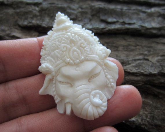 Gorgeous Deep Relief Ganesha Carved Buffalo Bone Pendant
