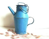 Vintage French  Large Pitcher .Jug .Country decor.Blue .Watering can