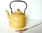 RESERVED FOR RACHEL .Vintage French enamel kettle . coffee pot . Mustard . Yellow .