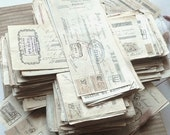 Old Paper. French antique bills .Authentique  .Paper ephemera.Wall hanging