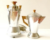 RESERVED FOR MICHEL French Coffee pot and electric percolator. Art Deco 1940s. Mid century .Kitchen decor.Home decor