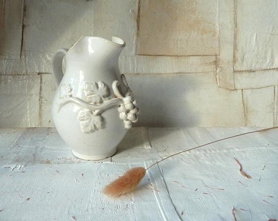 Vintage french jug . Little pitcher . creamer . milk jug .Grapes. Cottage. Handmade .