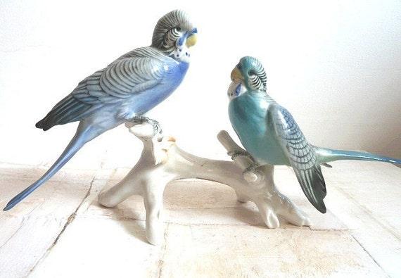 Unique Karl Ens Porcelain Birds Germany Blue Birds