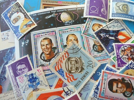 Vintage postage stamps. Astronaut / Space Themed .34pcs.FREE shipping