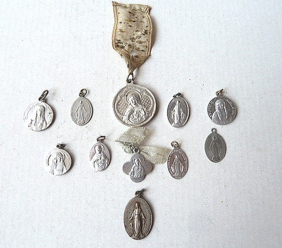 Antique French Medals. lot of 11 . Religious. Supplies .