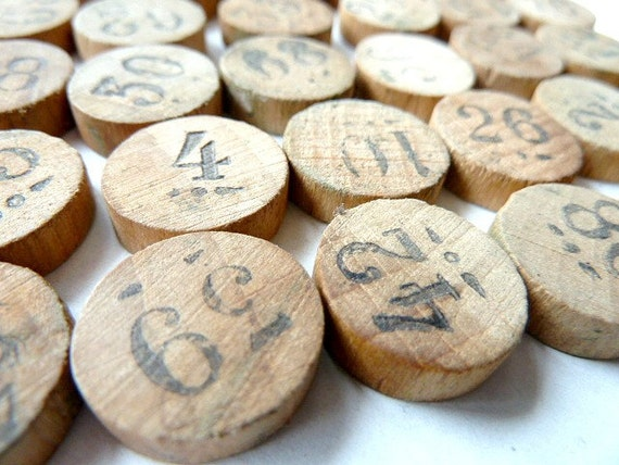 RESERVED FOR HEIDI .Antique French wooden lottery numbers. Loto . Supplies