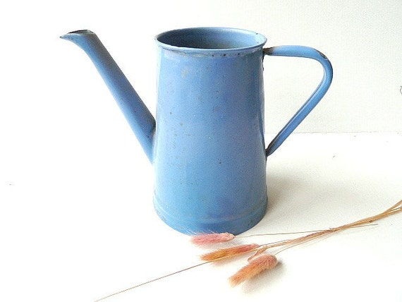 Vintage French enamel Pitcher . Jug .  Country decor. Coffee pot .Blue .Cottage