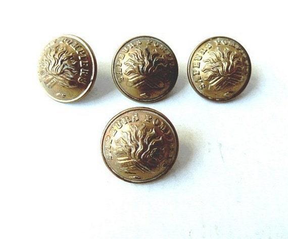 Vintage French buttons Fireman Paris  . Collectibles .Vintage . Fireman . France .