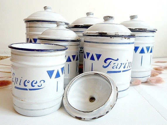 French antique set of 6 enamel kitchen canisters.1910s.Kitchen containers.Blue. Box .Kitchen storage.French canisters.Cottage.