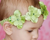 THE AVA-Beautiful Lime Green Sparkling Hydrangea Flower Headband- Easter-Birthday-Christmas Headband-Photo Shoot-Wedding- Pageant