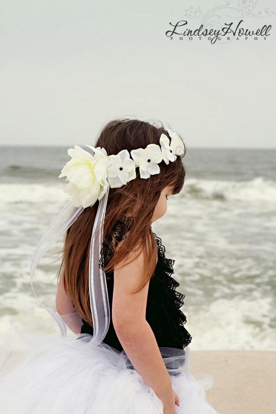 Gorgeous White Hydrangea Flower Girl Crown / Halo -Wedding- Quinceanero- Sweet Sixteen -First Communion-Bah Mitzvah-Recital