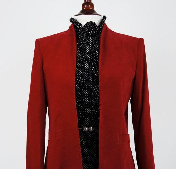 Vintage Red Cotton Velvet Blazer