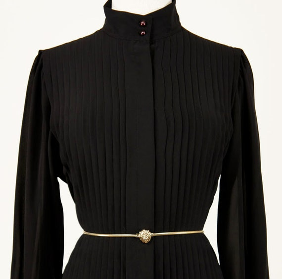 Vintage 1980s Black Chaus Blouse Pintucked Front
