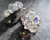vintage 1950s AURORA BOREALIS Laguna Austrian Crystal Cluster EARRINGS Clip Ons