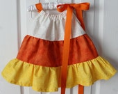 Custom Size Fall Tri-Color Pillow Case Style Dress, Candy Corn Colors - White, Orange & Yellow