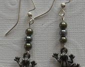 Frog Earrings with Small Green and Grey Pearls