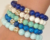 Semiprecious Beaded Gemstone Bracelet with GOLD Rhinestone Ball
