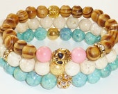 Wood Beaded Bracelet with Goldtone Skull and Fresh Peach Dyed Jade Semiprecious Gemstones