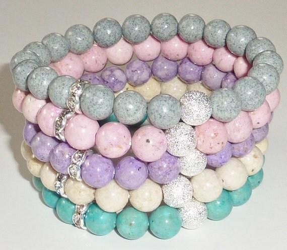 Gemstone Beaded Bracelet with Silver Stardust Ball