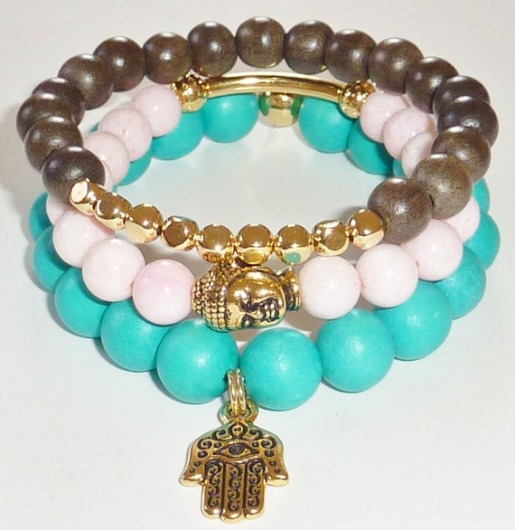 NEW-Wood Beads Bracelet in Turquoise Green with Goldtone Hamsa Charm
