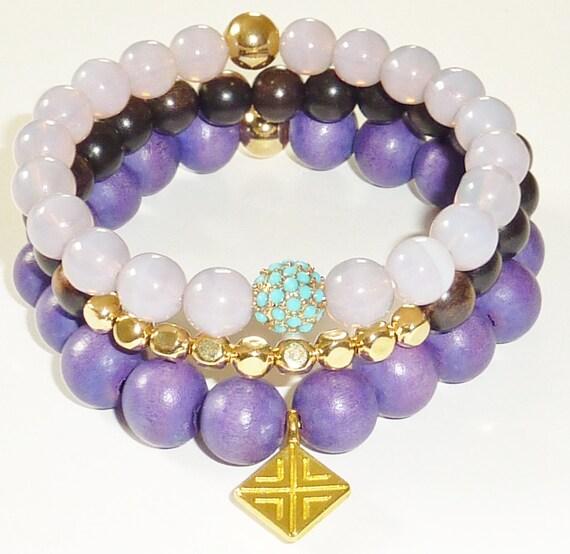 Wood Bead Bracelet in Juicy Grape with Gold  Diamond Shape Charm