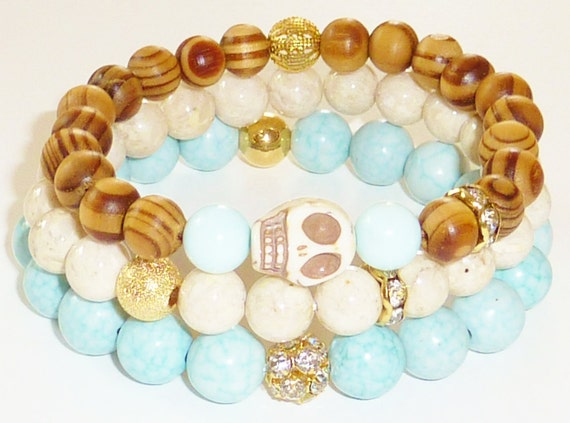 NEW-Wood Beaded Bracelet with Howlite Skull Charm and Baby Blue Dyed Jade Semiprecious Gemstone
