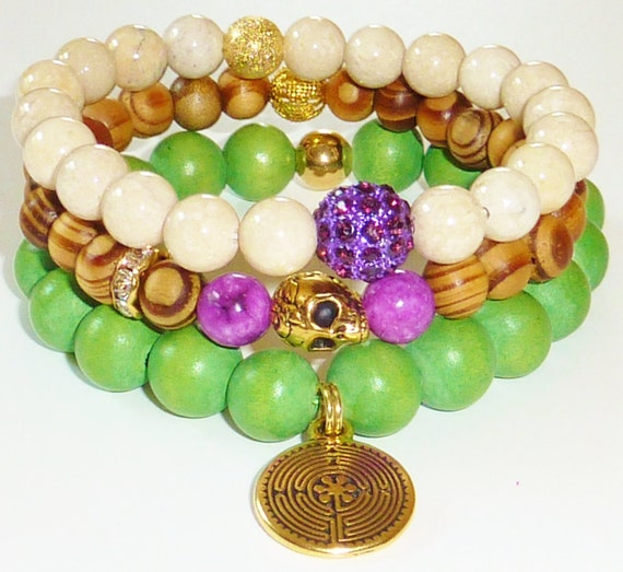 Beaded Bracelet Made with Natural Riverstone Semiprecious Gemstones and Grape Pave Rhinestone Disco Ball