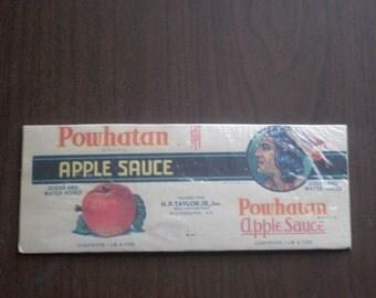 1938 Powhatan Apple Sauce Label