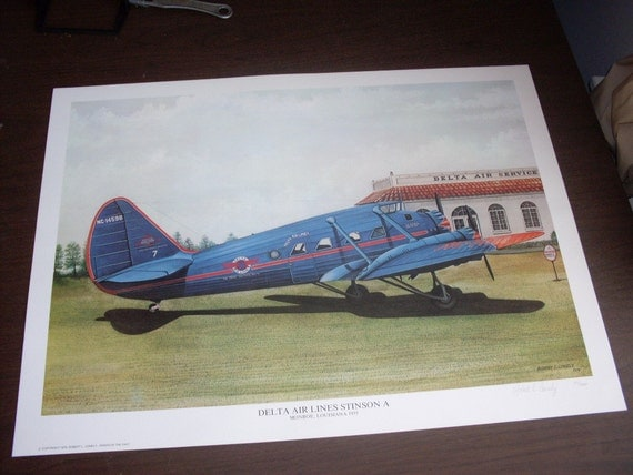 Vintage 1979 Delta Airlines Print Signed and Numbered 97 of 1000