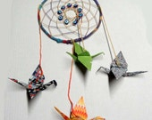 Dream Catcher, Eye Dream of Peace with Origami Cranes