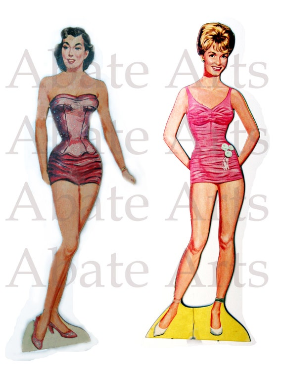 Pinup Girl, 1940's style, vintage, retro, bathing beauties, paper doll, for digital collage, scrapbooking