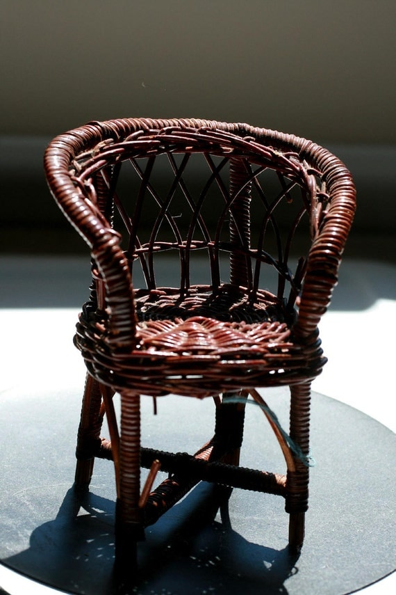 Miniature Wicker chair, doll size chair, vintage doll furniture.