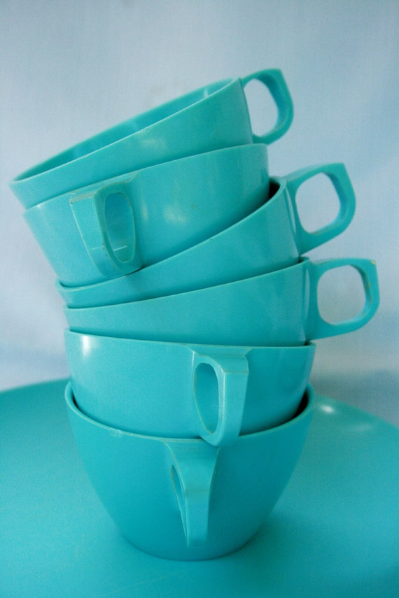 Vintage Turquoise Melmac Dishes 25 Piece set of 1960