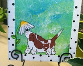 Whimsical Painted Tile with Easel