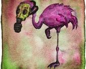 Gas Mask Toxic Flamingo : trippy surreal
