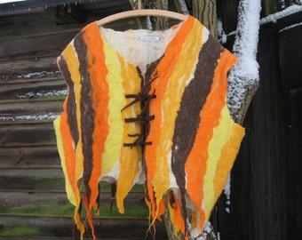 Men felted vest, felt vest, felt, wool, Middle Ages, vest, brown, yellow, orange,