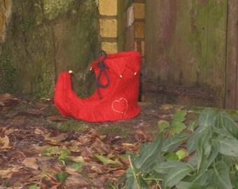 Christmas stocking, Christmas, Elves shoe, felt, felted shoes,