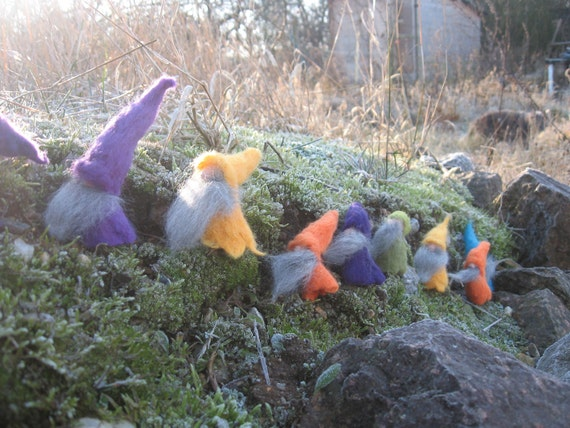 Dwarfs, finger puppets, gnome, felt finger puppet, dwarfs winter, winter, felt dolls, children's garden