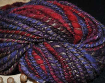 Llama/Wool blend spiral plied with hand dyed wool